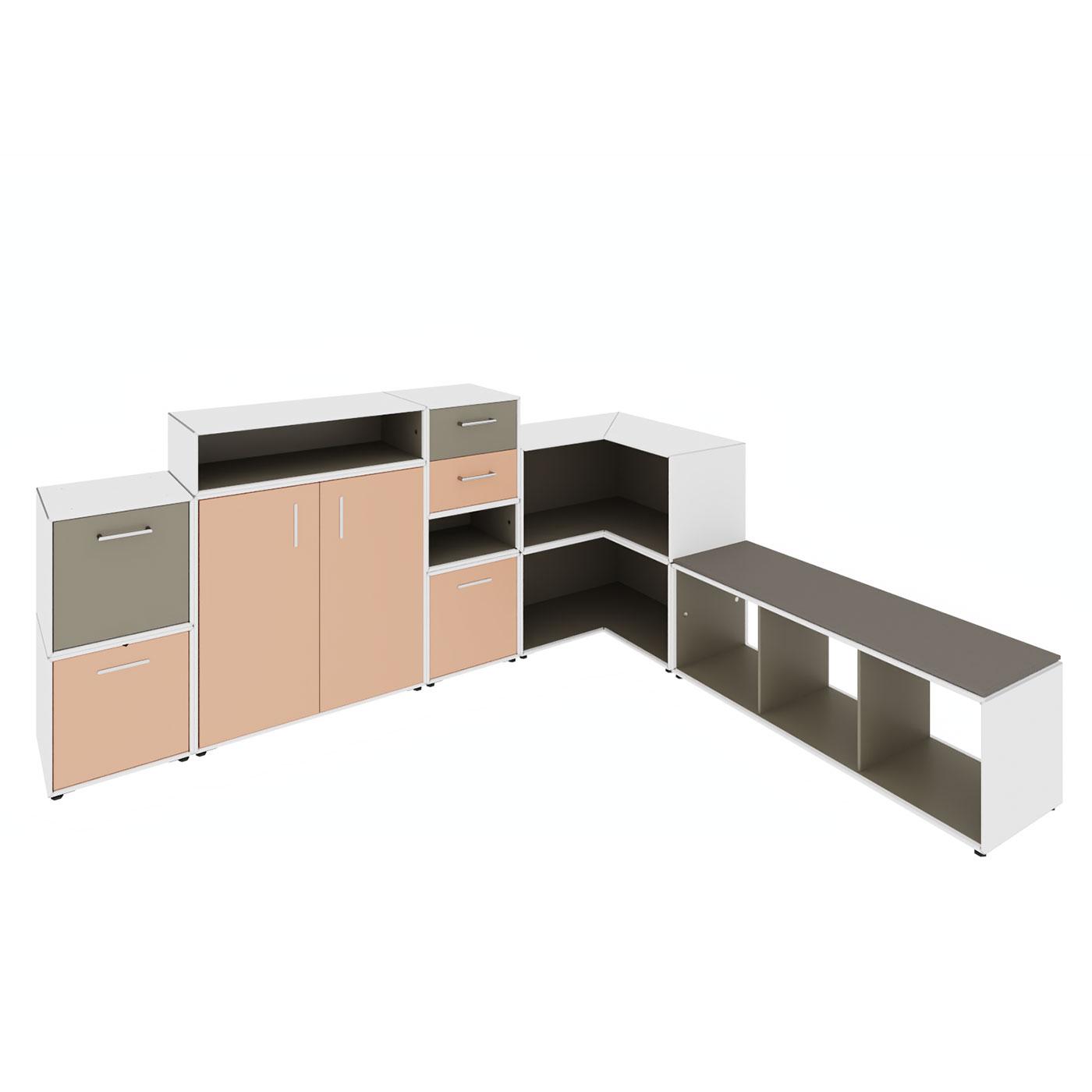 element.x Loungemöbel mit Stauraum, Präsentationsfläche und Sitzgelegenheit