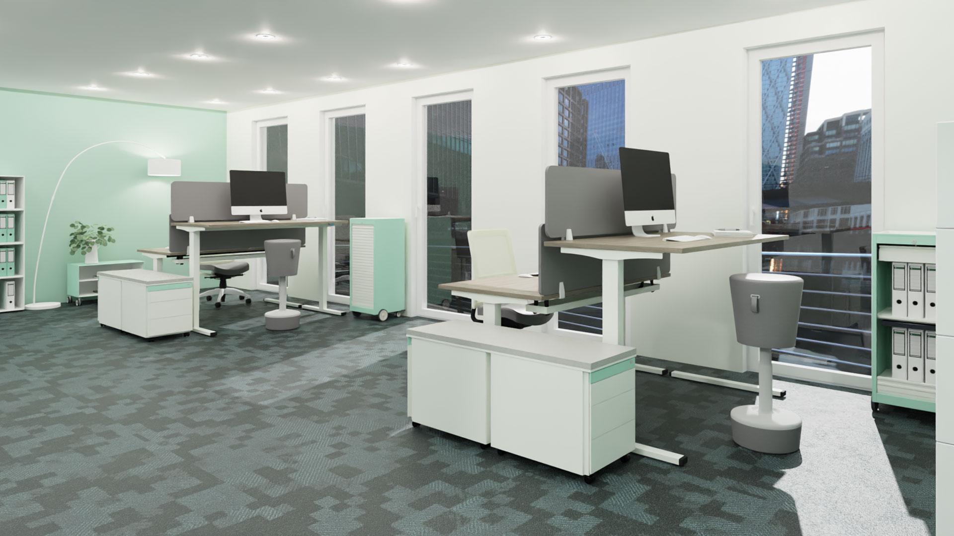 Softboard-Akustik-Aufsatzelement-grau-coworking-space-mauser Softboard Akustik-/Aufsatzelemnt z. B. im coworking space