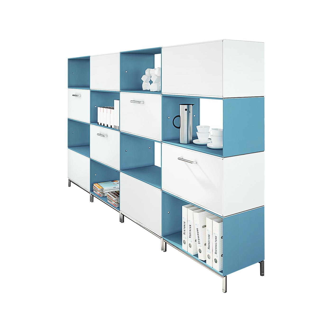 element.x Raumteiler mit Schubladen und Barfachklappen