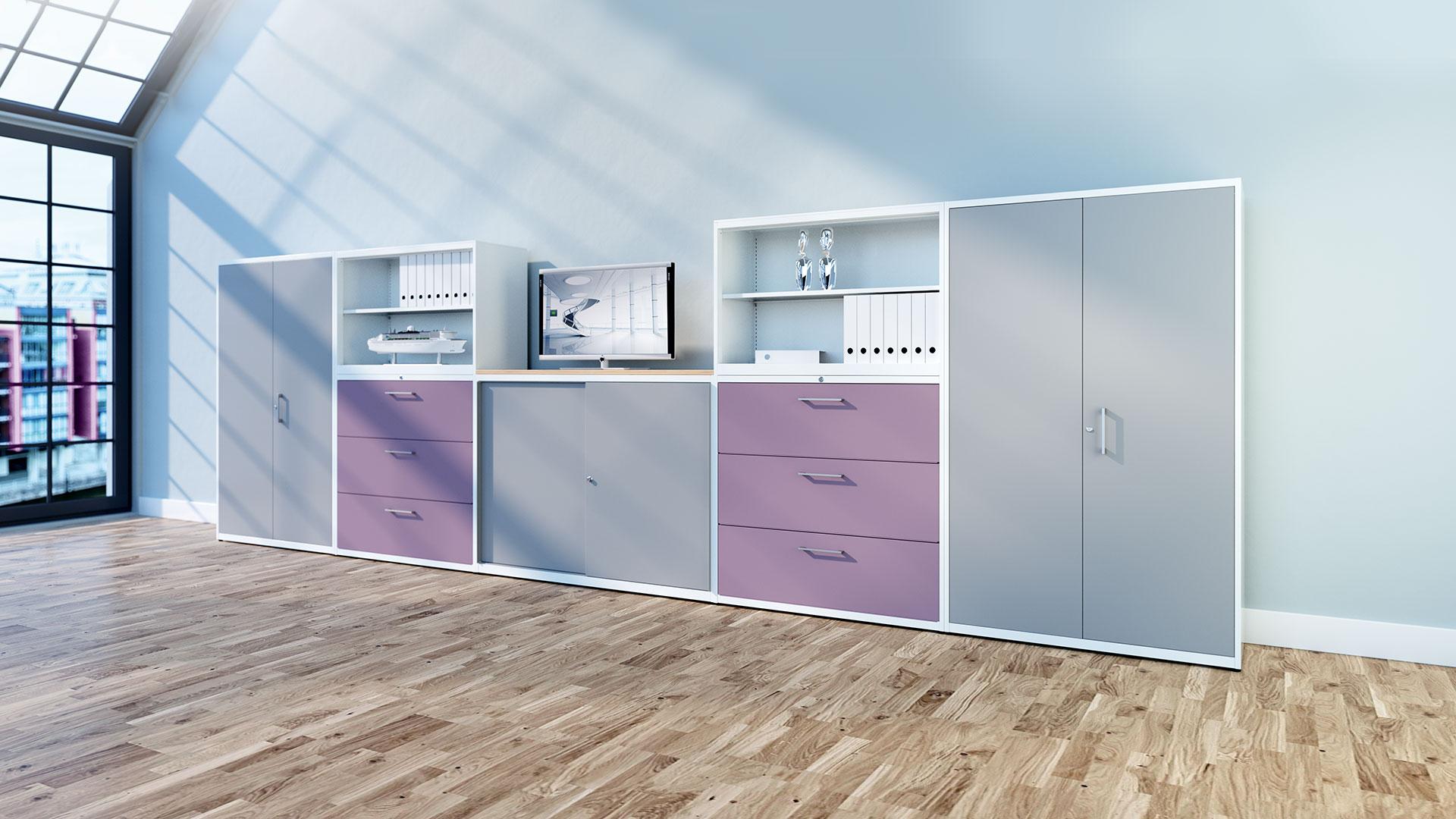 Schranksysteme-Bueroschrank-Schrankwandkombination-blaue-Schubladen-kontoro-mauser-16-9